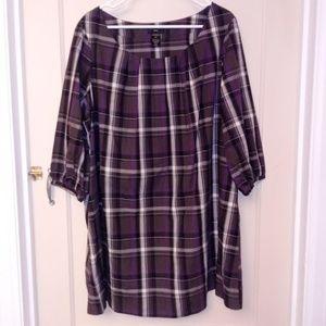 ELLOS Dress/Tunic Plaid Purple/Gray 18W